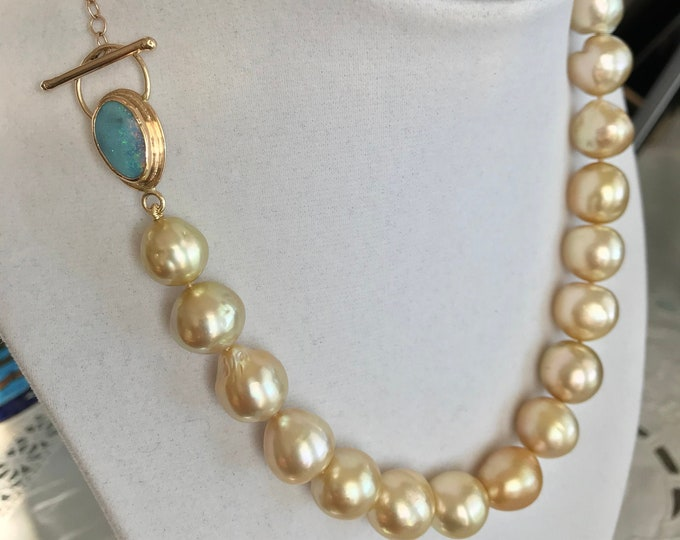 Cultured Golden South Sea Baroque Pearl Strand with Australian Boulder Opal Clasp, 14k (GSSP01)