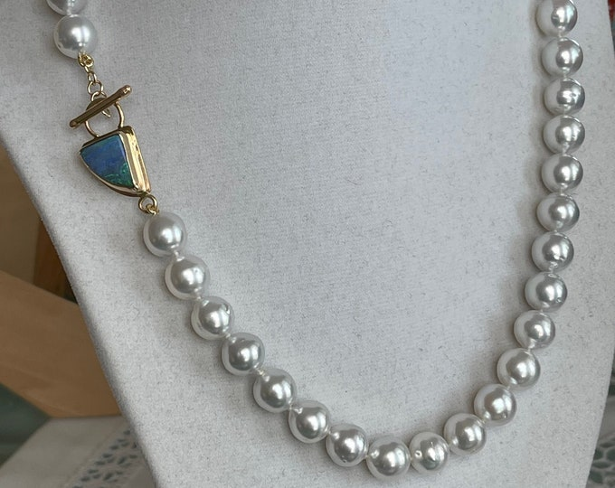 Cultured South Sea Baroque Pearl and Australian Boulder Opal Toggle Necklace 14k (SSPBO2)