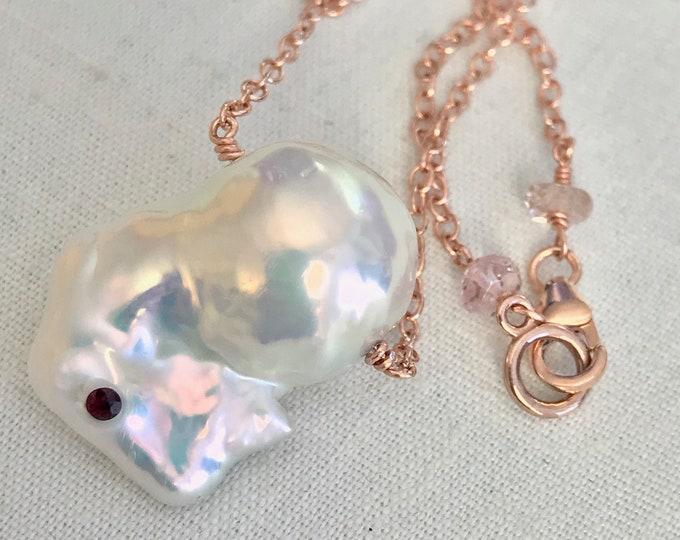 Cultured Freshwater Baroque Pearl, Ruby, 14k Rose Gold (TC22)