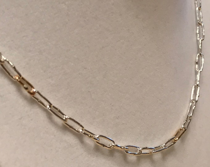 Sterling Silver and 14k Yellow Gold Funky Link Chain (FLGS1)