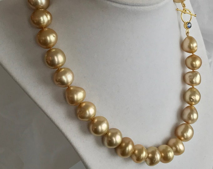 Cultured Golden South Sea Baroque Pearl Necklace with Sapphire Toggle Clasp, 18k (GSSS1)