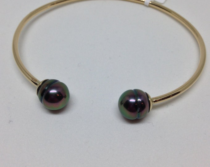 Cultured Tahitian Pearl Cuff Bracelet, 14k Yellow Gold (PB2)