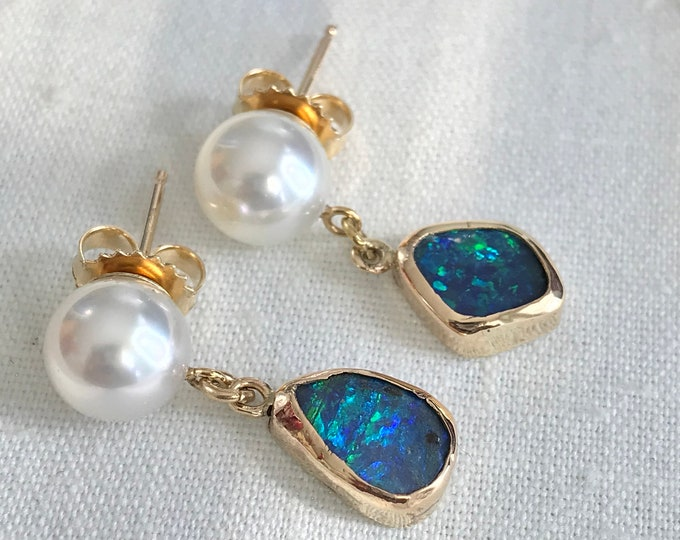 Cultured South Sea Pearls and Boulder Opal Earrings, 14k (PIPE1)