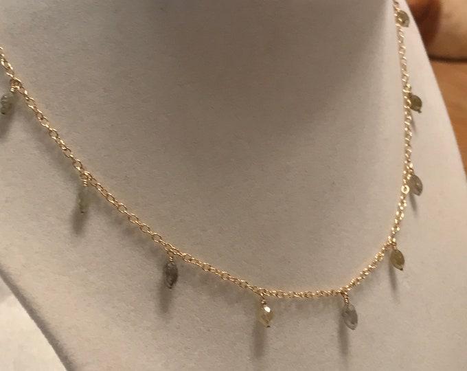 Diamond Dangle Necklace, 14k Gold (DDN1)