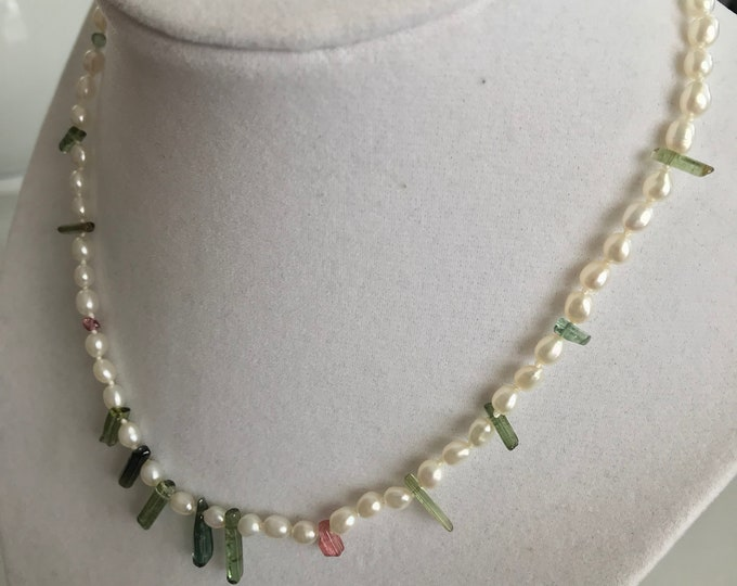 Cultured Freshwater Pearl, Tourmaline Crystal, 14k Gold Necklace (SPCN2)