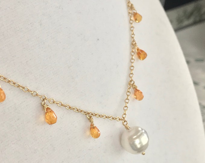 Cultured South Sea Baroque Pearl and Spessartine Garnet Necklace, 14k Gold (DN3)