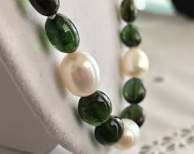 Cultured Freshwater Pearl, Tourmaline, 14k Gold Necklace (SCN2)