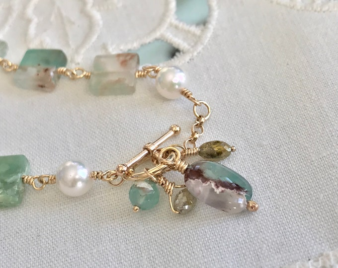 Cultured Akoya Pearl, Diamond and Aquaprase™ Necklace 14K (SGN12)