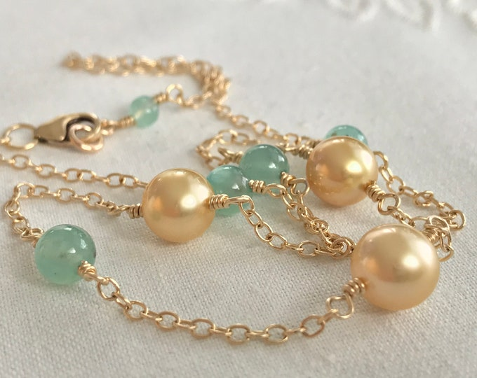 Cultured Golden South Sea Pearl and Aquaprase™ Necklace, 14k (SGN10)