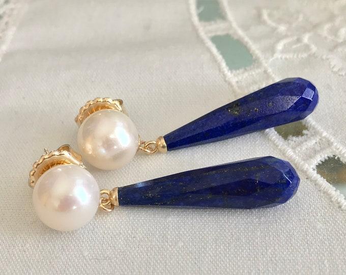 Cultured Freshwater Pearl, Lapis, 14k Gold Earrings (FPE6)