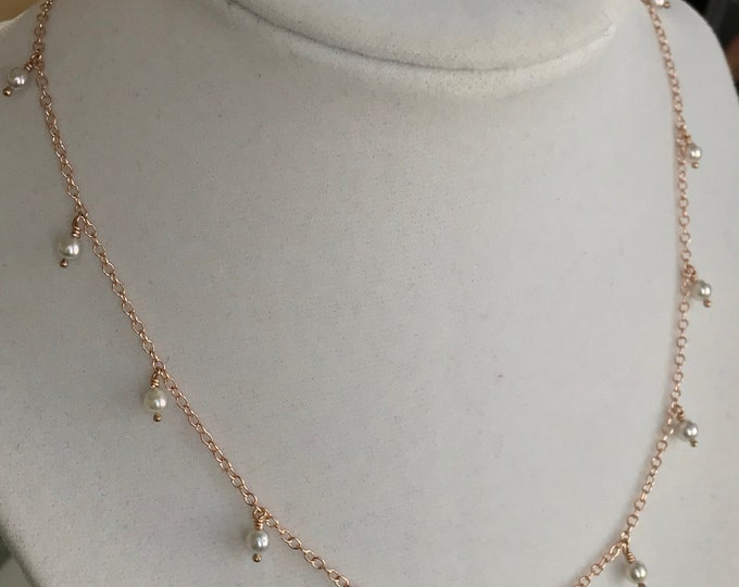 Cultured Akoya Pearl Necklace, 14k Rose Gold (RN1)