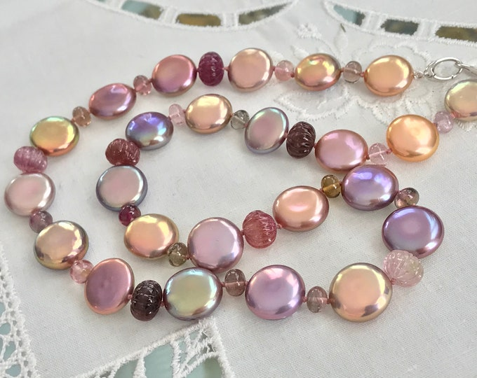Cultured Freshwater Coin Pearl and Pink Tourmaline Necklace, 14k White Gold (MM51)