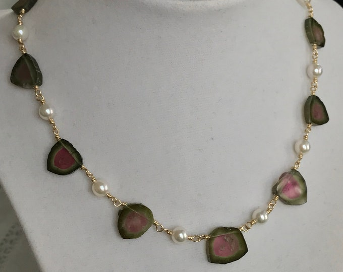 Cultured Akoya Pearl and Watermelon Tourmaline Necklace 14k Gold (WMN1)