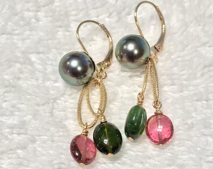 Cultured Tahitian Pearl, Pink and Green Tourmaline, 14k Yellow Gold Earrings (PE78)