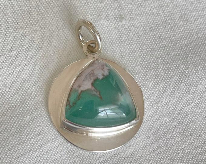 Aquaprase Evil Eye Pendant, Sterling and Fine Silver (TP11)