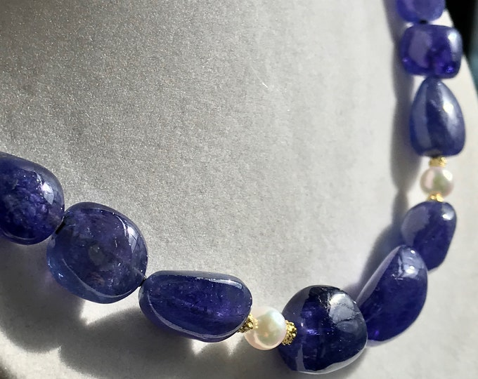 Cultured Akoya Pearls, Tanzanite and 14k Necklace (TAN1)