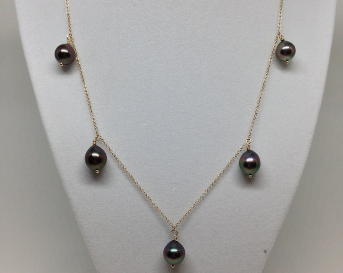 Cultured Tahitian Pearls and 14k Yellow Gold Necklace (TC11)