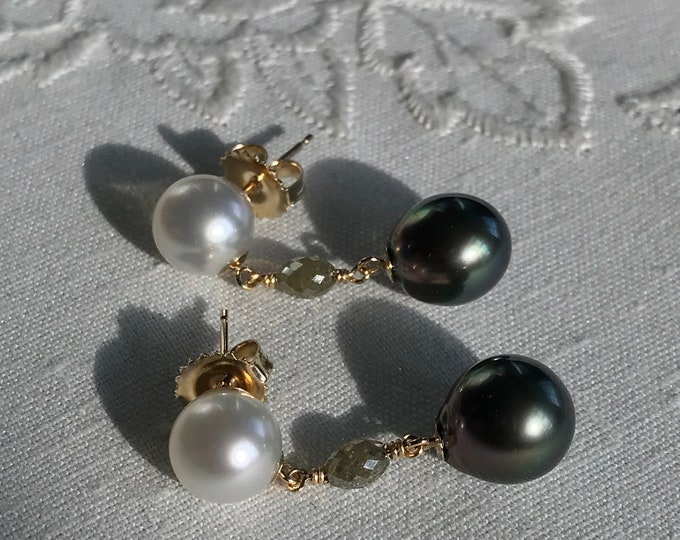 Cultured South Sea and Fiji Pearls, Diamond Earrings 14k (FPDE1)
