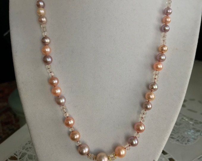 Cultured Freshwater Pearl, Moonstone, 14k Yellow Gold Necklace (RMWN1)
