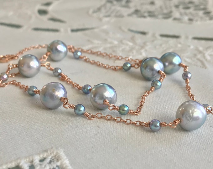 Cultured Blue Pearl Tin Cup Necklace, 14k Rose Gold (BATC6)