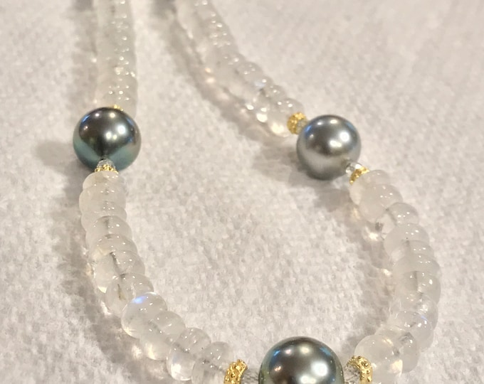 Cultured Tahitian Pearl, Moonstone, White Topaz and 14k Yellow Gold Necklace (LBL4)