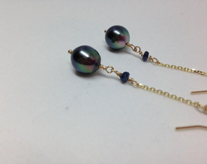 Cultured Tahitian Peals, Dangle Drop Pearl Earrings, 14k Gold, Peacock Pearls, Fine Jewelry, Black Pearls, Sapphire and Pearls  (PE10)