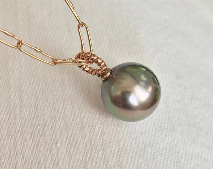 Cultured Fiji Pearl Pendant with Chain, 14k Rose Gold (FPN1)