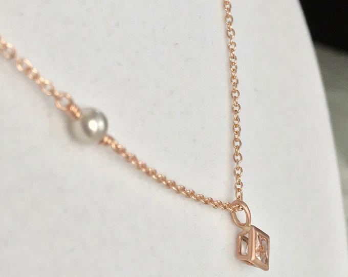 Cultured Tahitian Keshi Pearl, Morganite, 18k Rose Gold Necklace (NSN2)