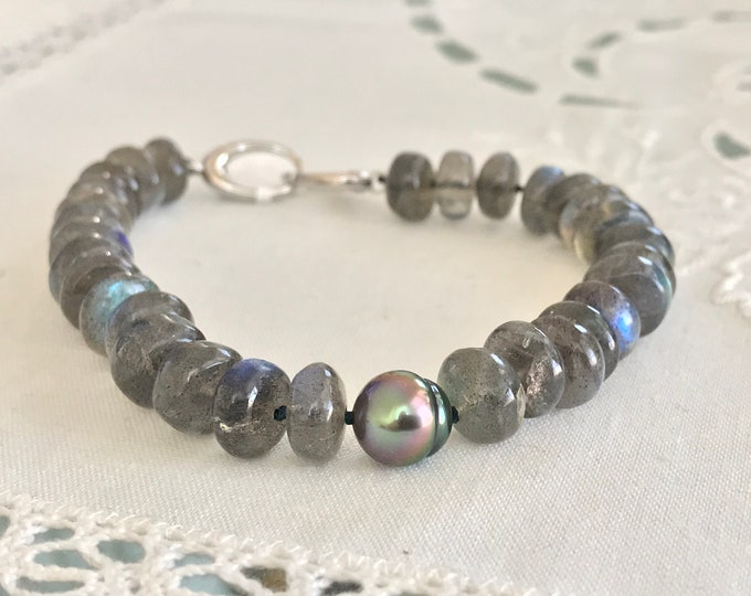 Cultured Tahitian Baroque Pearl and Labradorite Bracelet, Sterling Silver (LBLB6)