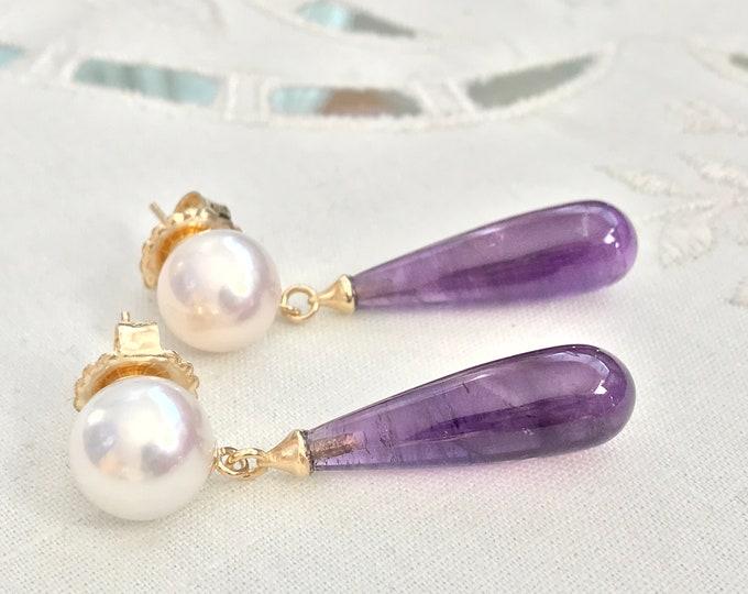 Cultured Freshwater Pearl Earrings, Amethyst, 14k (FPE2)