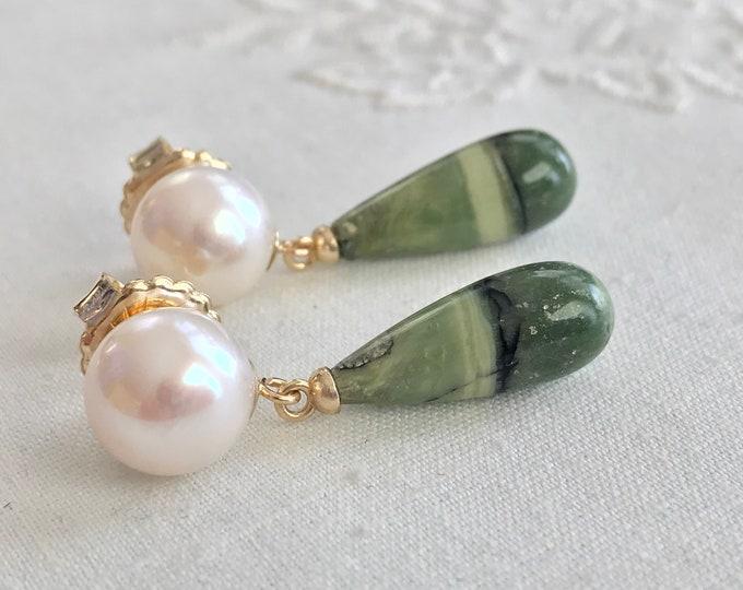 Cultured Freshwater Pearl, Green Opal Earrings, 14k (FPE7)