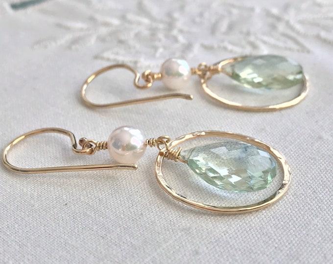 Cultured Akoya Pearl and Prasiolite Earrings, 14k (CE2)