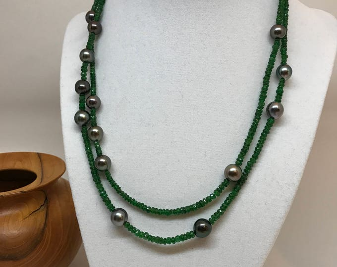 Cultured Tahitian Peal and Tsavorite Necklace with 14k Yellow Gold Clasp (MM28)