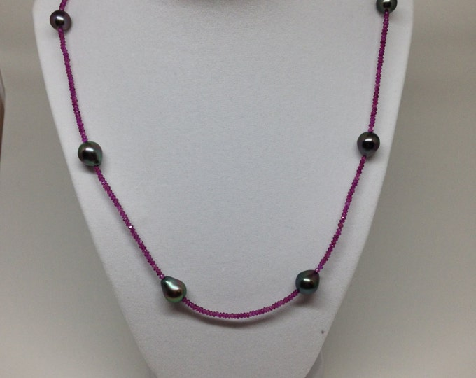 Cultured Tahitian Pearl Rhodolite Bead Necklace, 14k Yellow Gold (MM8)