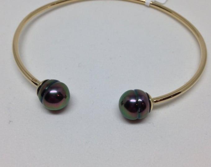 Cultured Tahitian Pearl Cuff Bracelet, 14k Yellow Gold (PB2)
