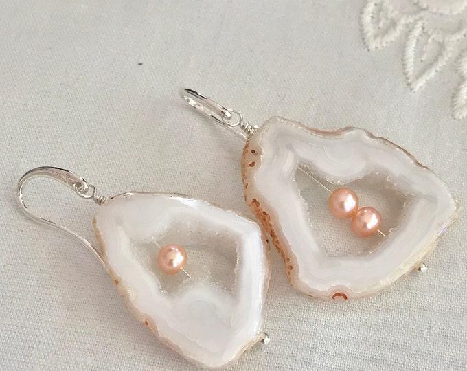 Cultured Freshwater Pearls, Geode Slice Sterling Silver Earrings (RMWE1)