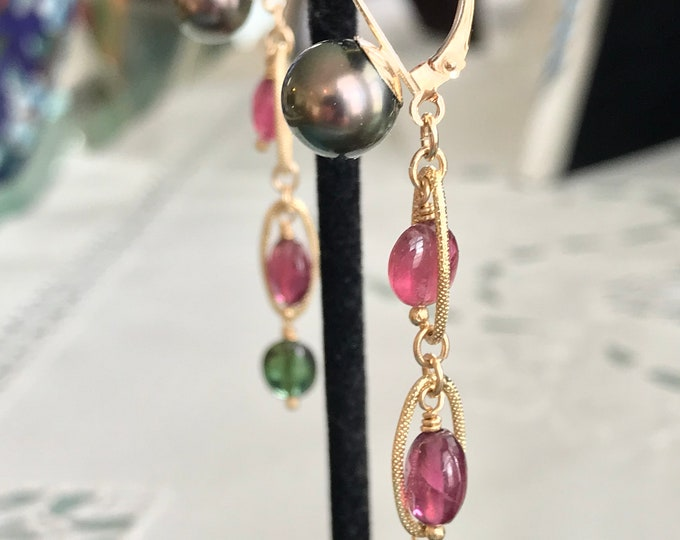 Cultured Tahitian Pearl, Pink and Green Tourmaline, 14k Yellow Gold Earrings (PE79)