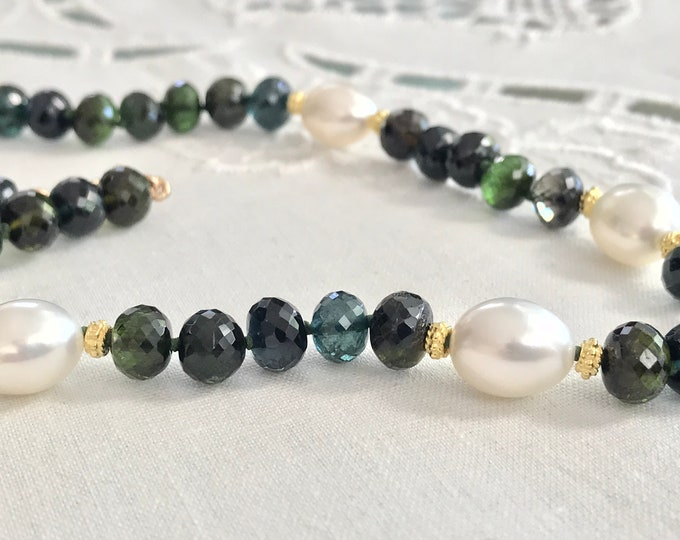 Cultured Freshwater Pearl, Tourmaline and 14k Yellow Gold Necklace (MM49)