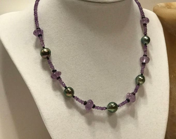 Cultured Tahitian Pearl and Amethyst Bead Choker Necklace, 14k Gold, Black Spinel, Black Opal (MM31)