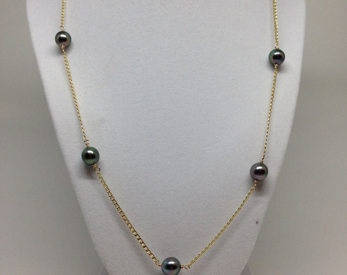 Cultured Tahitian Pearl Tin Cup Necklace, nautical link 14k yellow gold chain (TC2)