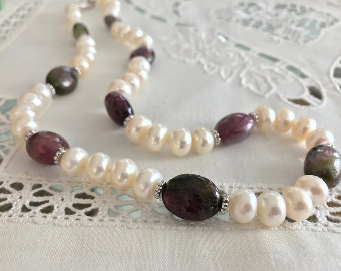 Cultured Freshwater Pearls, Tourmaline and Sterling Silver Necklace (MM52)