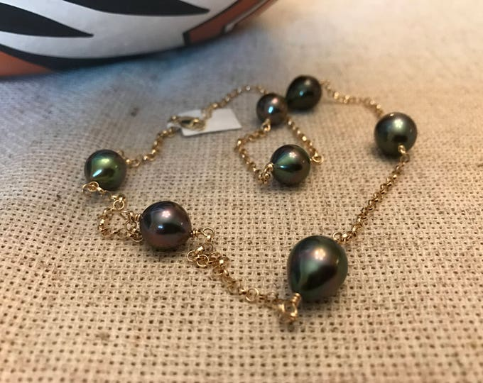 Cultured Tahitian Pearl Tin Cup Necklace, 14k Yellow Gold (TC10)