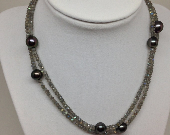 Cultured Tahitian Pearl and Labradorite Necklace with 14k Gold Clasp (MM7)