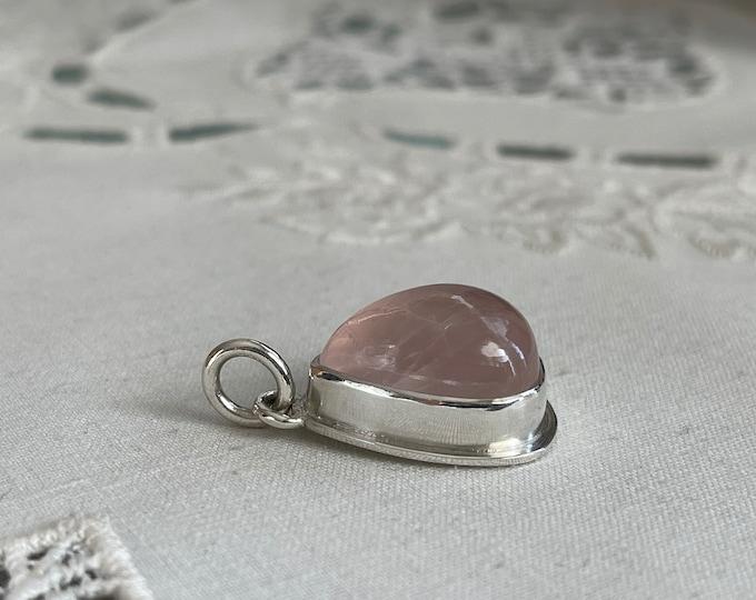 Rose Quartz Pendant, Silver (RQP1)