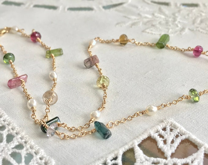 Cultured Freshwater, Tourmaline and 14k Yellow Gold Necklace (SPCN1)