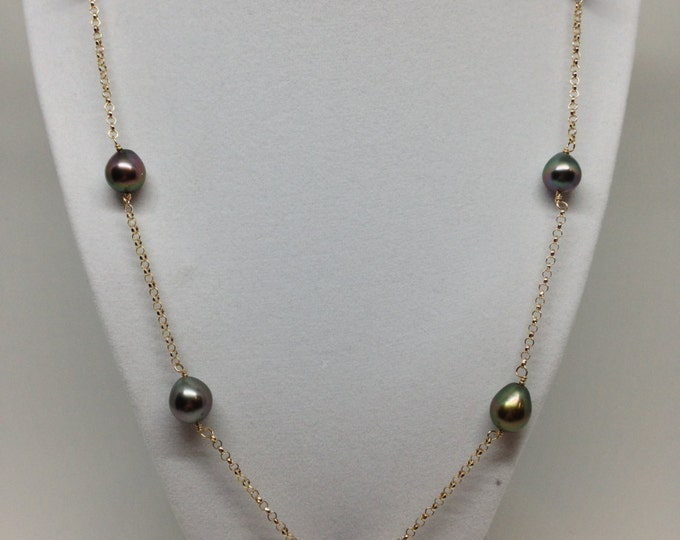 Cultured Tahitian Pearl Tin Cup Necklace 14k Gold Rolo Chain (TC3)