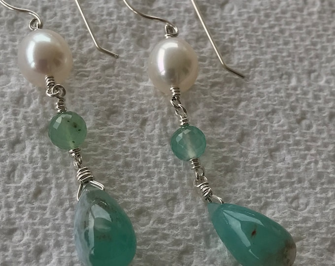 Cultured Freshwater Pearls, Aquaprase™, Sterling Silver Earrings (SGE15)