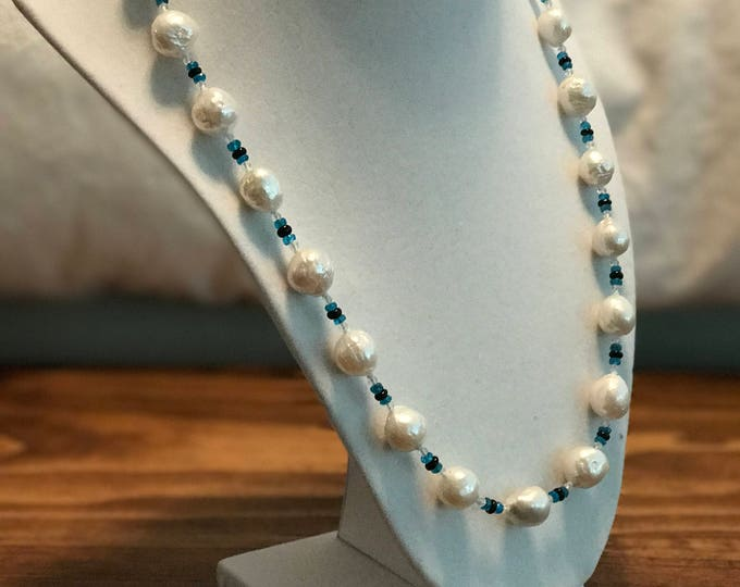 Cultured Freshwater Pearls, Apatite, White Topaz, and Black Opal Necklace, Sterling Silver (MM30)