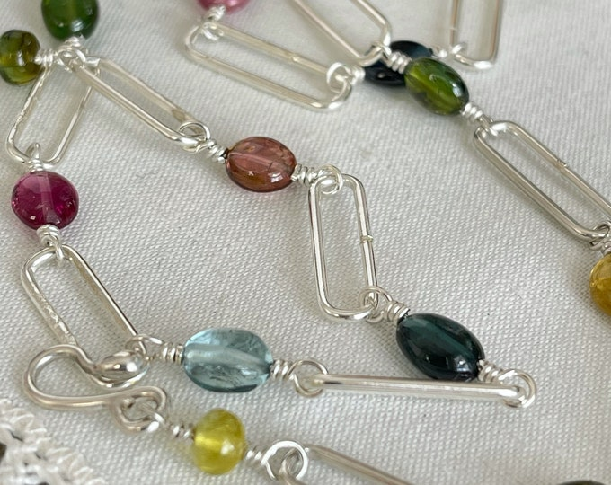 Funky Link Necklace with Tourmaline, Sterling Silver (FLT1)