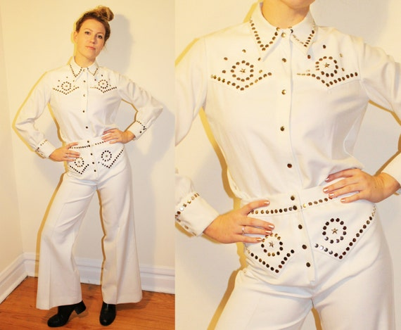 70s Vintage White Polyester Western Studded Suit